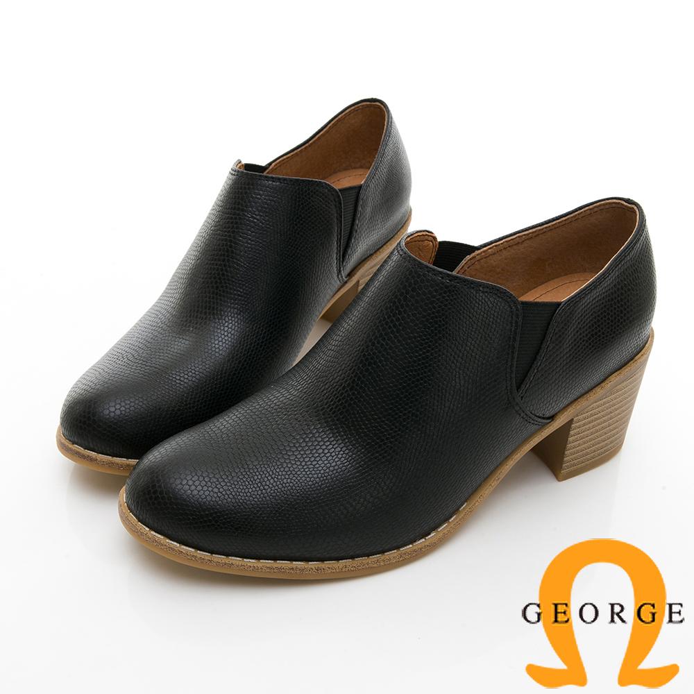 【GEORGE 喬治皮鞋】經典側邊鬆緊拼接中跟踝短靴-黑色