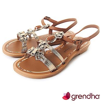 Grendha 璀璨名媛鑽飾平底涼鞋-褐色