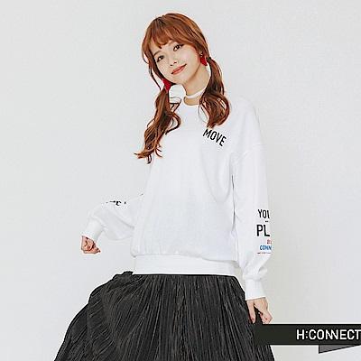 H:CONNECT 韓國品牌 女裝-雙袖印字長袖上衣-白