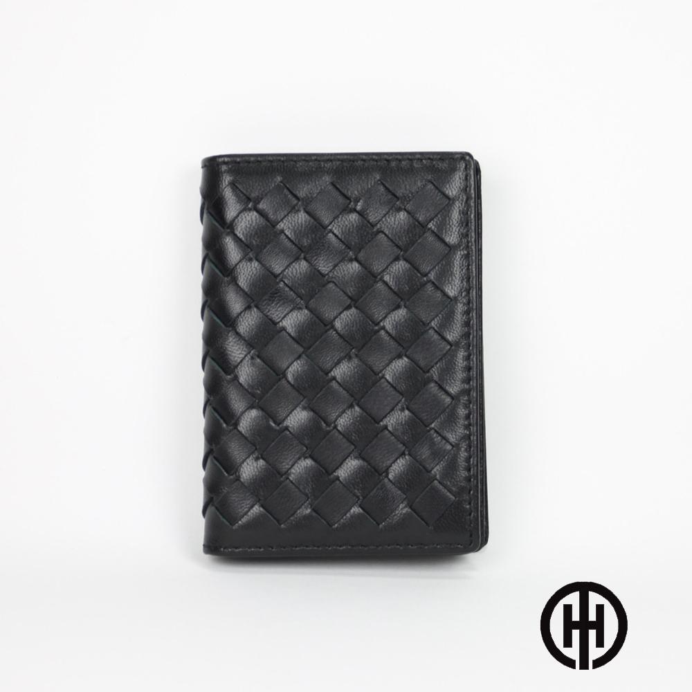OMDI  頭層牛皮編織名片夾(黑色)