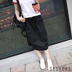 雙排釦抓皺大口袋長裙(M-L) SISTERS