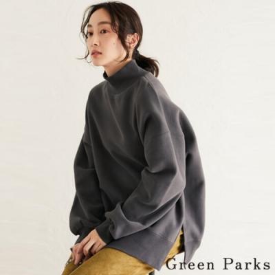 Green Parks 休閒高領下開叉落肩上衣