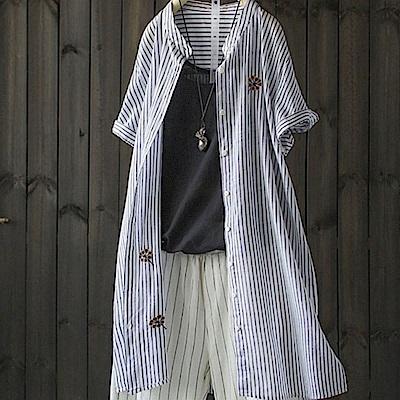 中長版寬鬆刺繡純棉條紋襯衫防曬外搭-設計所在