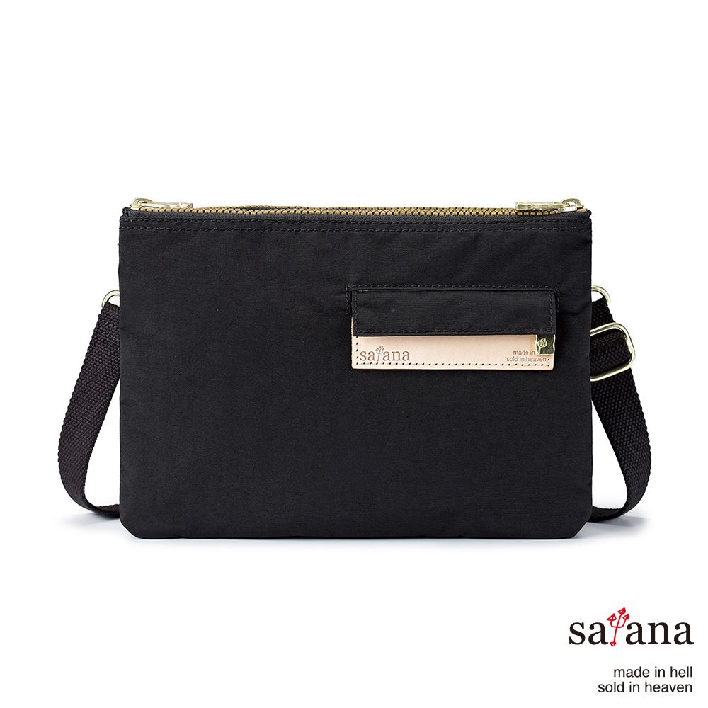 satana - 愜意生活雙拉鍊斜背包 - 黑色
