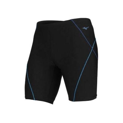 MIZUNO 男 FITNESS五分泳褲  SWIM 黑藍水藍