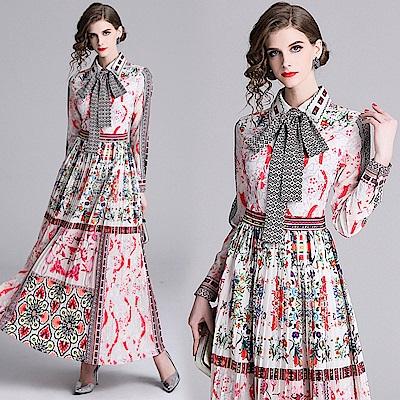 抽象印花壓摺裙襬長袖洋裝M-2XL-M2M