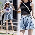 高腰顯瘦牛仔短褲-淺藍色(M-XL可選)     NUMI  森