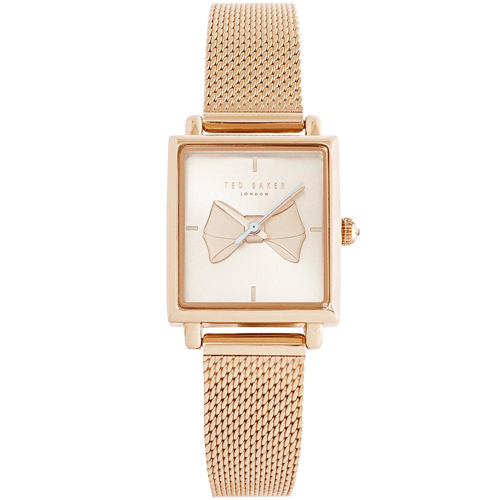 Ted Baker 優雅蝴蝶結時尚米蘭帶手錶-玫瑰金框/21mm