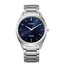 CITIZEN GENT'S光動能鈦金屬職場時尚腕錶-銀X藍(BJ6520-82L)39mm