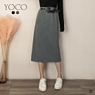 東京著衣-YOCO 舒適手感後開衩附腰帶棉質中長裙-M.L(共二色)