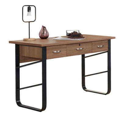文創集 波德 現代4尺三抽書桌/電腦桌-120x60x75.5cm免組