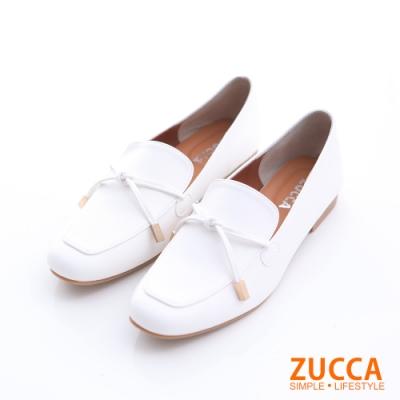 ZUCCA-細綁繩尖頭紳士鞋-白-z6505we