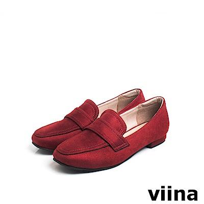 viina Basic 羊絨布素面樂福鞋 - 紅