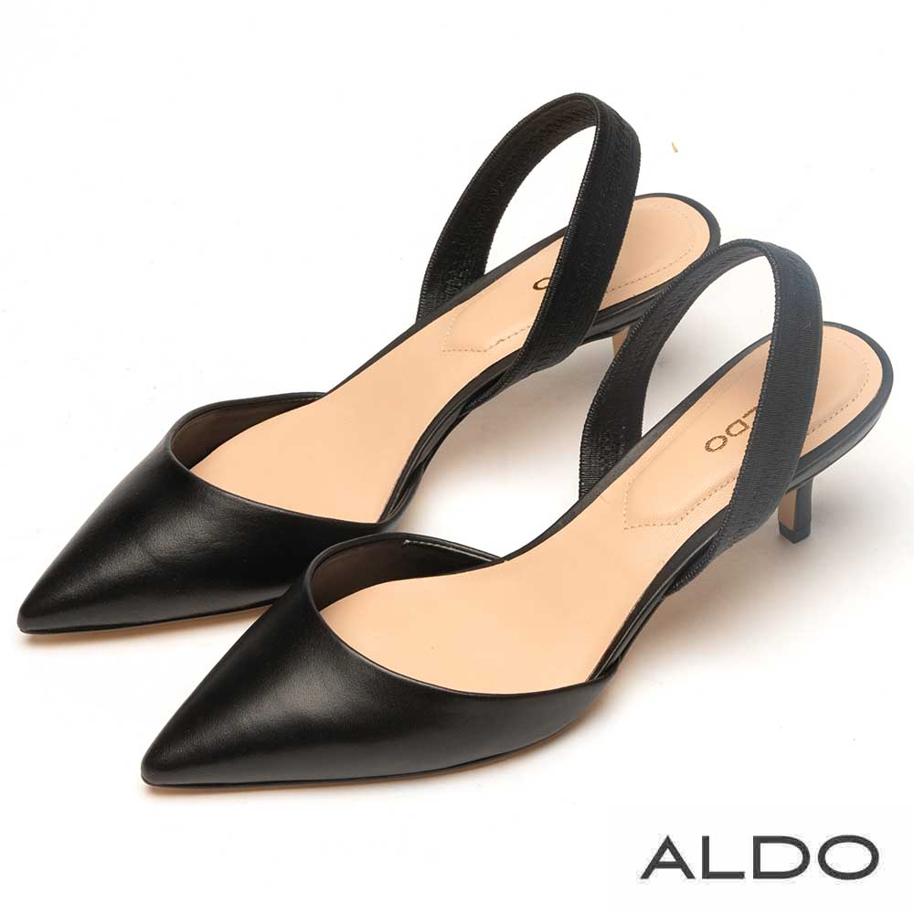 ALDO 原色尖頭佐羊皮鞋墊拉帶式細跟鞋~尊爵黑色