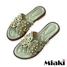 Miaki-拖鞋金屬韓系平底涼拖-綠