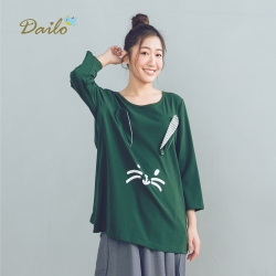 【DAILO】可愛兔子造型-上衣(三色)