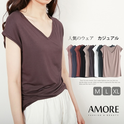 【Amore女裝】莫代爾彈性V領/圓領顯瘦修身上衣9色