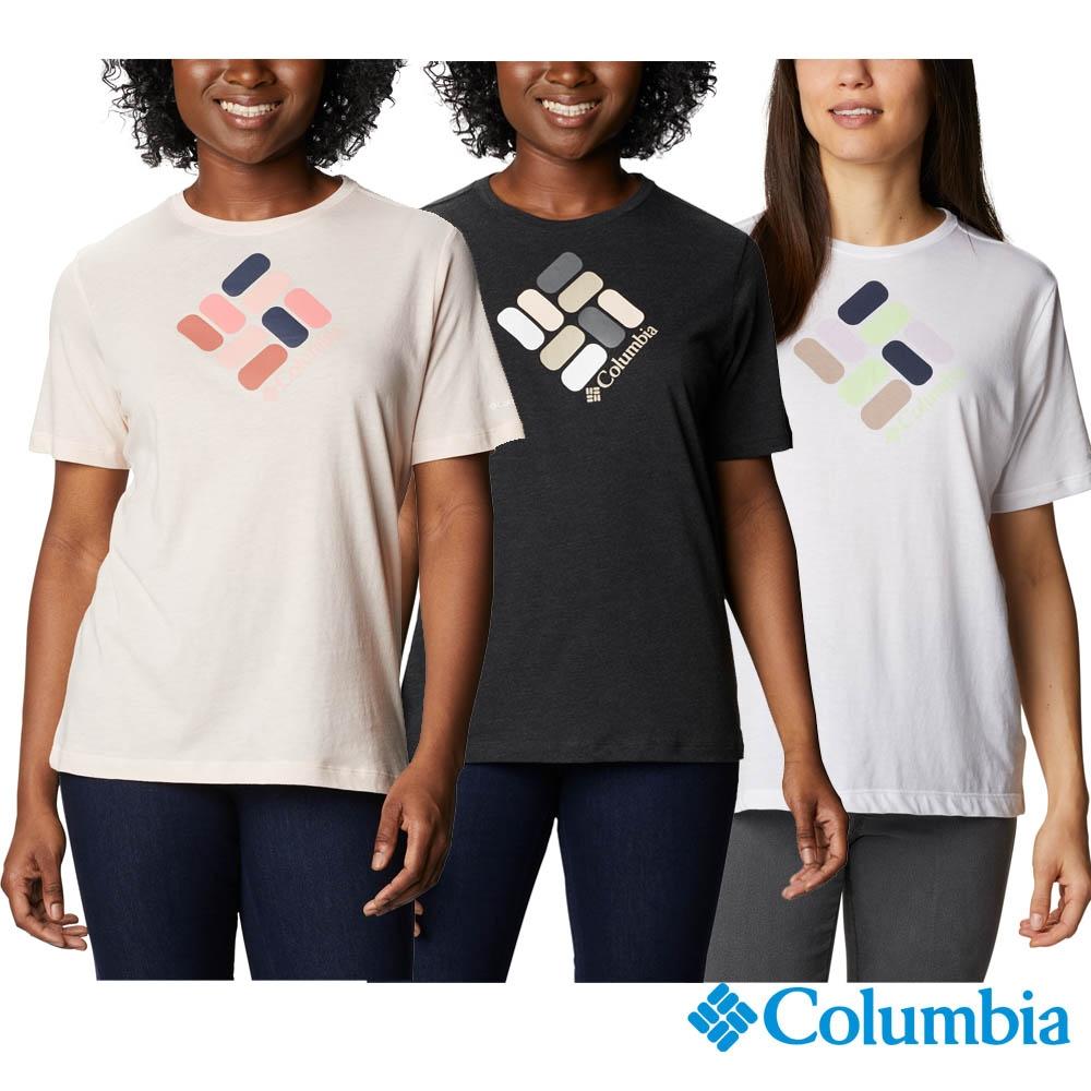 Columbia 哥倫比亞 女款- LOGO短袖上衣-3色 UAR31200 (白色)
