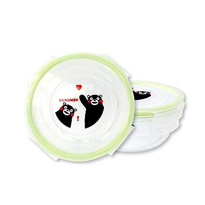 金德恩 台灣製造 圓形玻璃保鮮密封便當盒 700ml 日本九州熊本Kumamon