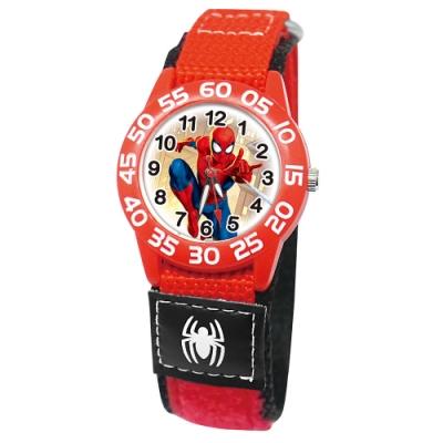 Disney迪士尼 Marvel漫威蜘蛛人自黏織帶錶33mm紅殼白字紅錶帶