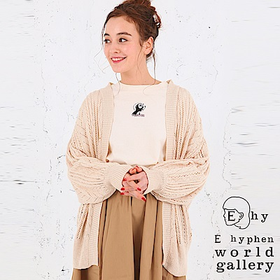 E hyphen 鏤空設計開襟針織罩衫