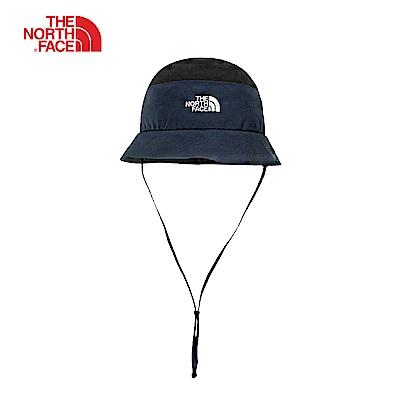 The North Face北面男女款藍黑拼接防水透氣專業遮陽帽|CF9LSXK