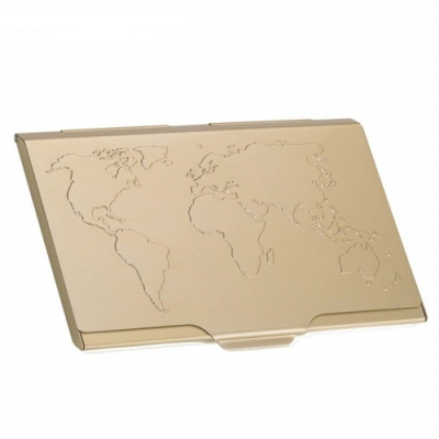 德國TROIKA世界地圖名片夾CDC15-02/GO(金色)