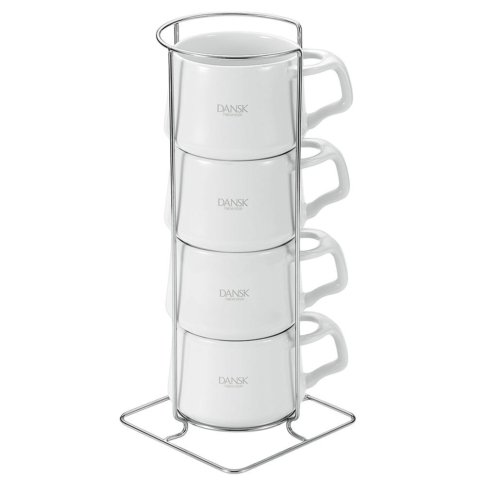 DANSK 陶瓷迷你馬克杯120ml-4件組(白色)