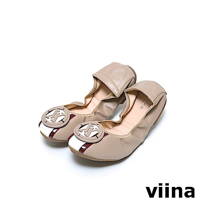 viina 條紋LOGO摺疊鞋MIT - 駝