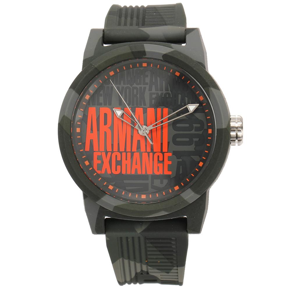 A/X Armani Exchange時尚撞色迷彩橡膠帶男腕錶-(AX1441)-47mm