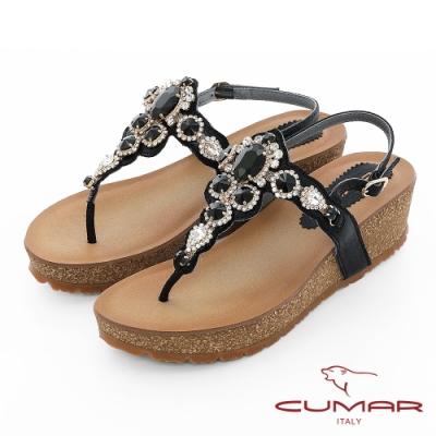 【CUMAR】情迷哈瓦那 -華麗大寶石波西米亞風格厚底台夾腳涼鞋-黑