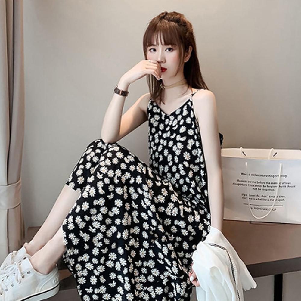 名模天后-細肩帶滿版小花印花洋裝-2色-(M-2XL)