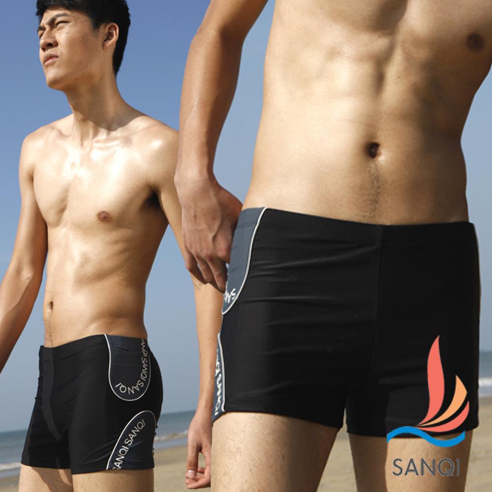 SANQI三奇 海洋調調 平口短版四角泳褲(黑M.L)