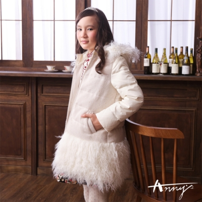 Annys超熱賣時尚百搭拼接下擺羊毛連帽修身超保暖外套*6686白