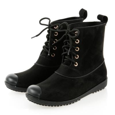 JMS-率性百搭雨天首選綁帶馬丁款雨靴-黑色