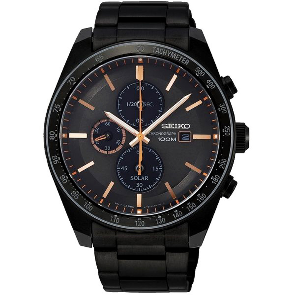 SEIKO 精工Criteria太陽能計時手錶SSC733P1-黑X玫瑰金/44mm