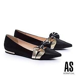 低跟鞋 AS 奢華魅力立體晶鑽蝴蝶結羊皮尖頭低跟鞋-黑