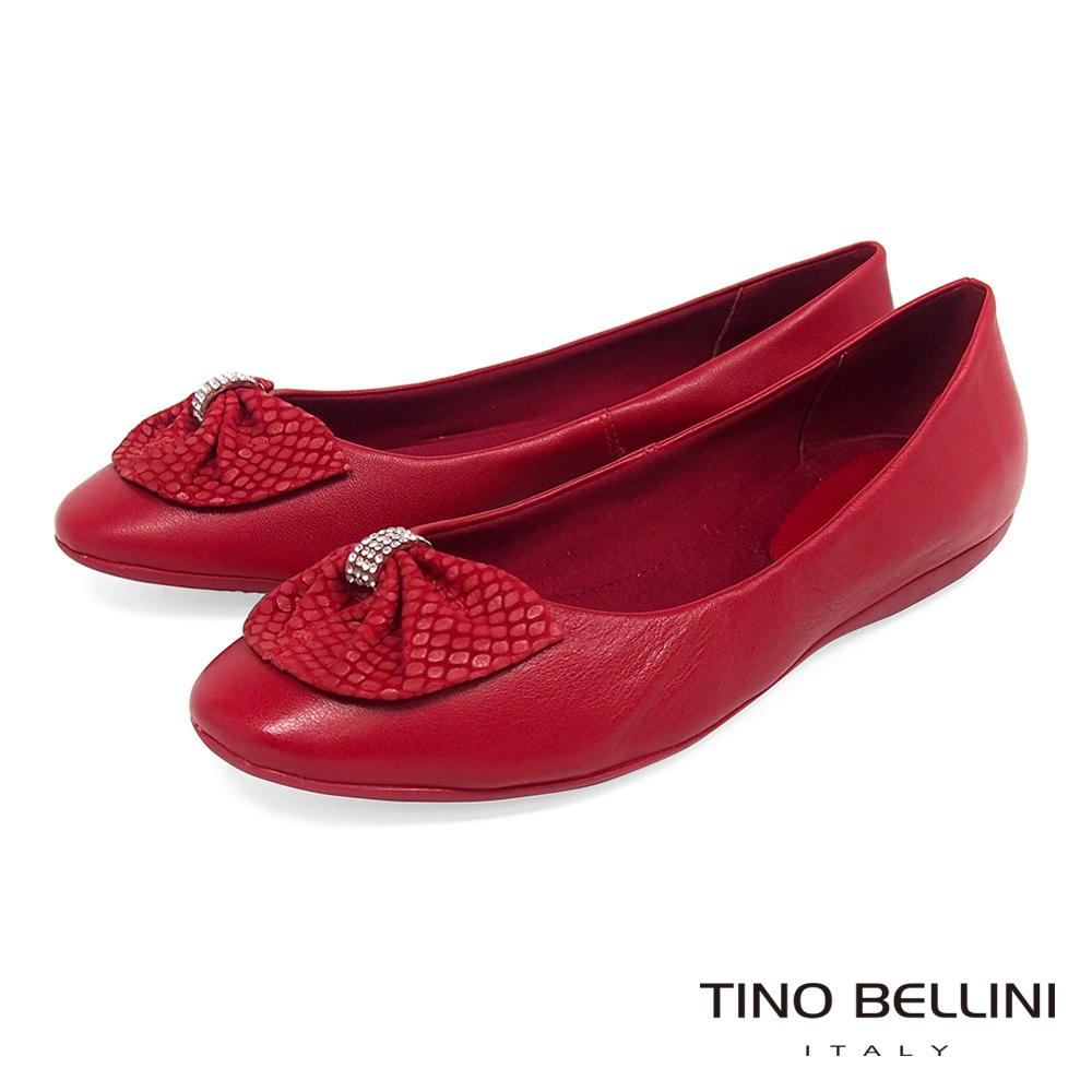Tino Bellini 巴西進口鑽飾寬版蛇紋領結平底娃娃鞋 _ 紅
