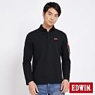 EDWIN 太空袖口袋 長袖POLO衫-男-黑色
