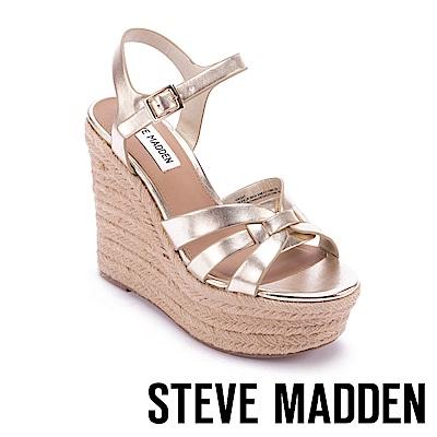 STEVE MADDEN-KNIGHT波西米亞草編楔型涼鞋-金色