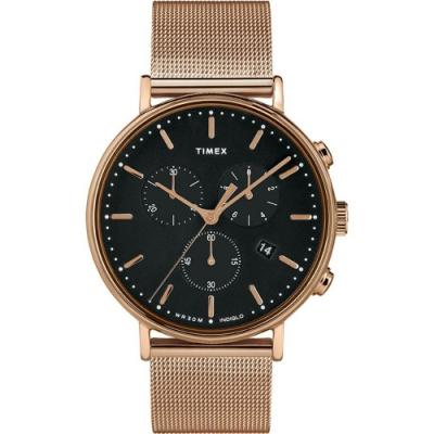 TIMEX Fairfield Chrono 優雅米蘭帶三眼計時手錶-黑x玫瑰金/41mm