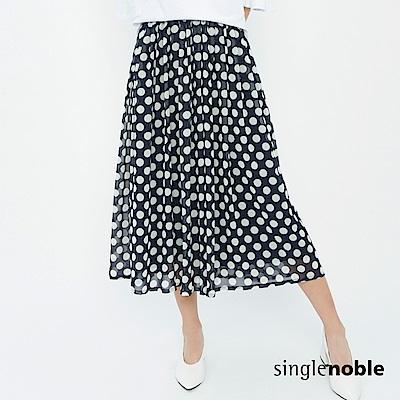 獨身貴族 復古風潮圓點設計雪紡寬管褲(1色)