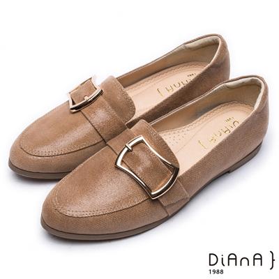 DIANA 漫步雲端超厚切焦糖美人—簡約穿孔方釦真皮平底鞋-卡其
