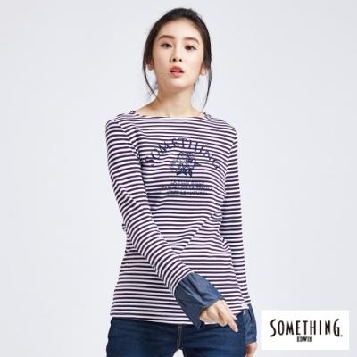 SOMETHING 印花條紋 薄長袖T恤-女-紫色