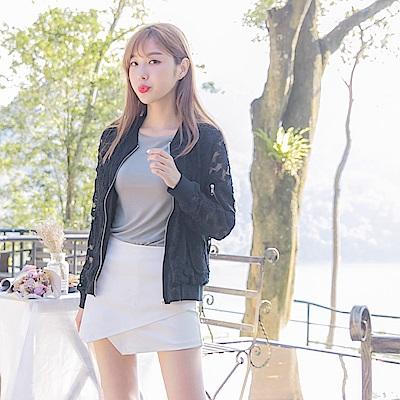滿版蕾絲雕花設計純色棒球外套-OB大尺碼