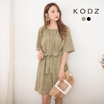 東京著衣-KODZ 清新氣質滿版愛心排釦附綁帶洋裝-S.M.L(共二色)