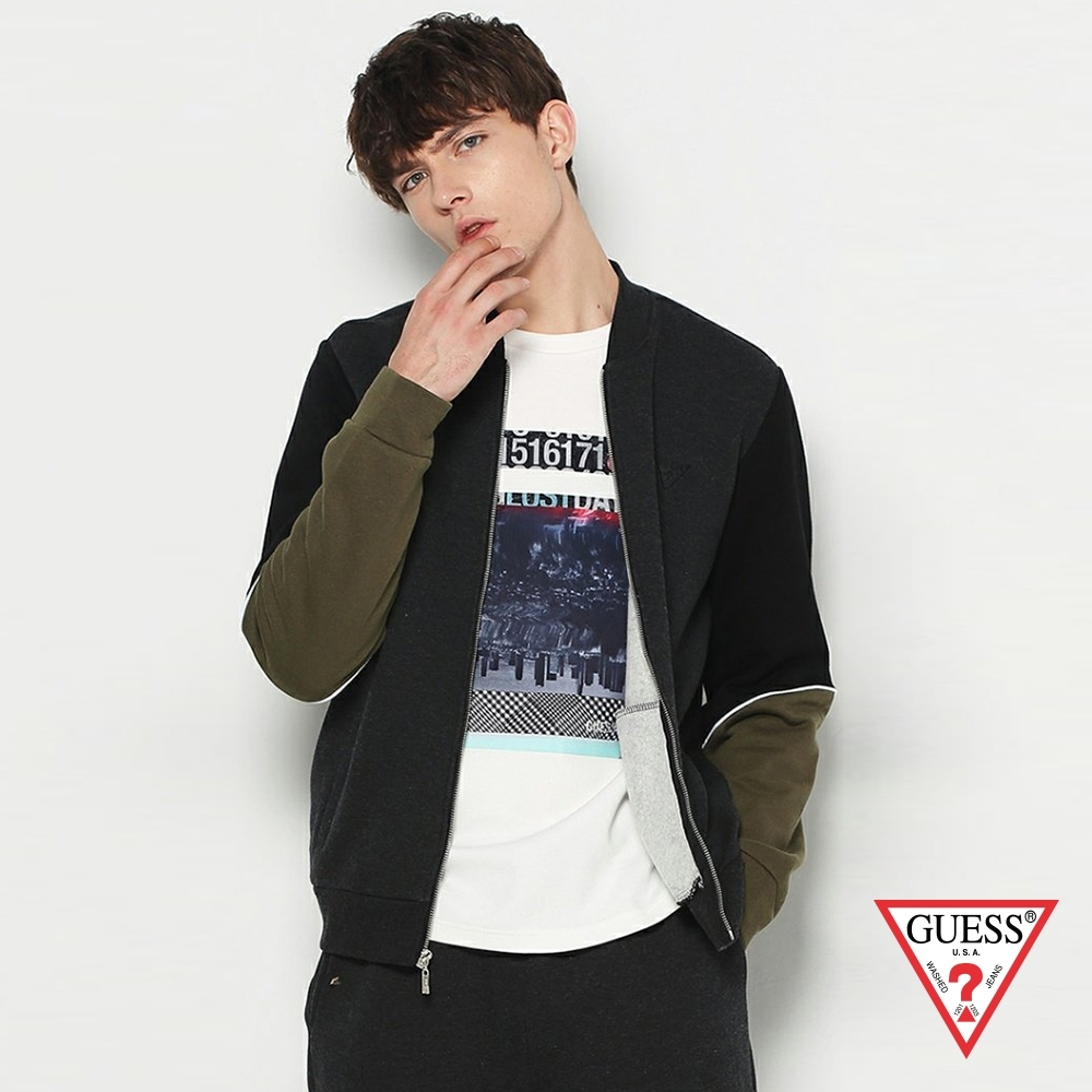 GUESS-男裝-個性拼接拉鍊外套-黑 product image 1