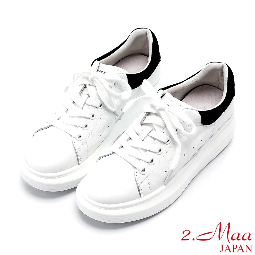 2.Maa 拼接風牛皮綁帶厚底小白鞋 - 黑白