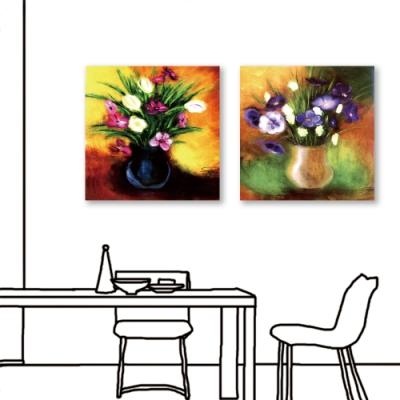 24mama掛畫-二聯式 藝術花卉 豐富 油畫風無框畫 60X60cm-優雅