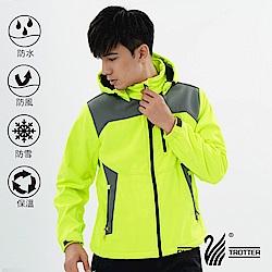 【遊遍天下】男款GlobeTex防水透濕防風刷毛軟殼外套GJ23003螢光黃